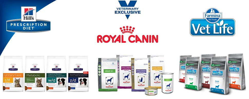 Medicinska hrana: Hill's Prescription Diet • Royal Canin Veterinary Diet • Farmina Vet Life